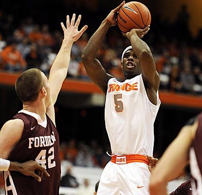 C.J. Fair pulls up for a jumper in No. 5 Syracuse's season opener vs. Fordham. (US Presswire)