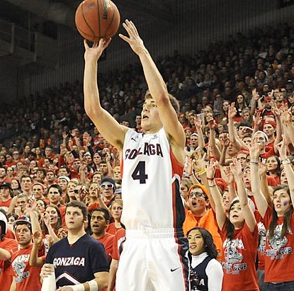A capacity crowd at McCarthey Athletic Center witnesses Kevin Pangos putting his name in the Gonzaga record books.  (US Presswire)