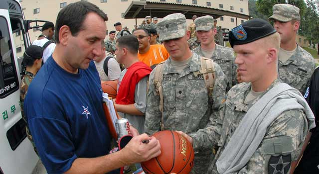 Krzyzewski has never forgotten his roots at West Point and Army. (Getty Images)