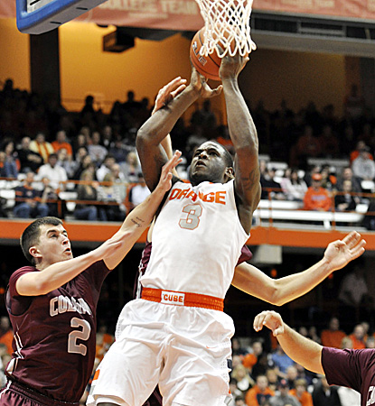 Dion Waiters scores 16 points off the bench for the Orange in their first game playing without assistant coach Bernie Fine. (AP)