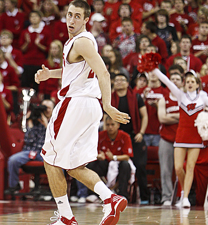 Josh Gasser struts back on D after making one of his four treys on the night. (AP)