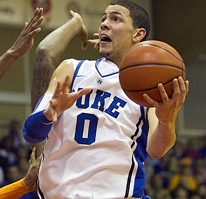 Duke freshman Austin Rivers overcomes an erratic start to lead the Blue Devils with 18 points. (AP)