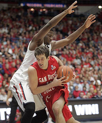 San Diego State's James Rahon, who winds up with 13 points, drives against Arizona's Solomon Hill during the second half.  (AP)