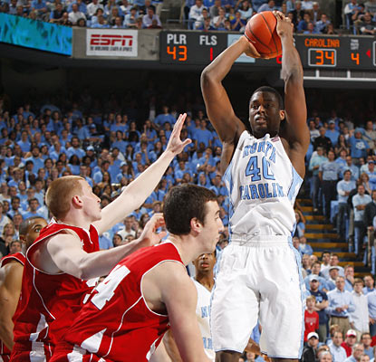 Harrison Barnes provides 10 key points in a second-half run that helps the Heels rally past the visiting Badgers. (US Presswire)