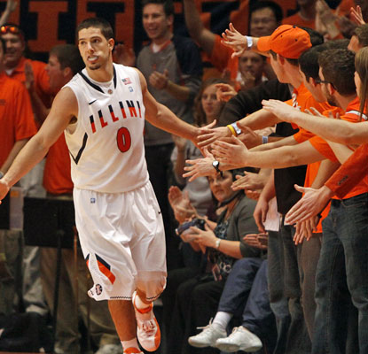 Illinois' Sam Maniscalco celebrates with fans as the Illini improve their record to 8-0.  (US Presswire)