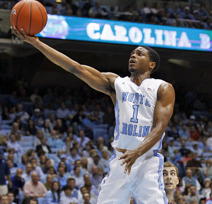 North Carolina guard Dexter Strickland floats to the basket in the first half.  (AP)