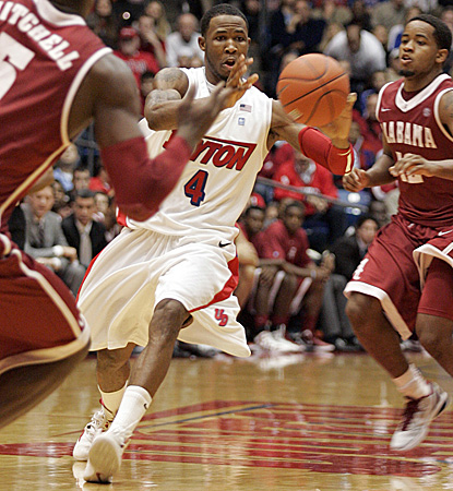 Chris Johnson leads Dayton with 20 points in an upset of No. 16 Alabama. (AP)