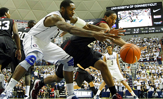 UConn's Alex Oriakhi struggles on the courts have led to his minutes being cut by Jim Calhoun. (US Presswire)