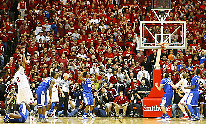 Christian Watford (left) watches as his 3-point shot goes through to give Indiana the win over UK. (US Presswire)
