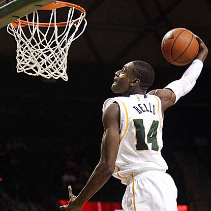 Guard Deuce Bello soars for two of his nine points in Baylor's convincing victory over Bethune-Cookman. (AP)