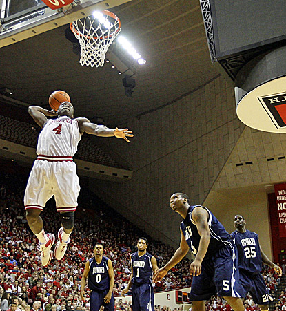 Victor Oladipo slams home two of his 10 points. He also finishes with a team-high eight rebounds for the Hoosiers. (AP)