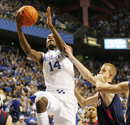Kentucky's Michael Kidd-Gilchrist flies toward the rim and the Wildcats win yet another game at Rupp Arena.  (US Presswire)
