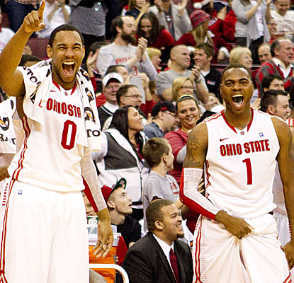 Jared Sullinger (left) and Deshaun Thomas both enjoy big scoring nights in the Buckeyes' lopsided win.  (US Presswire)
