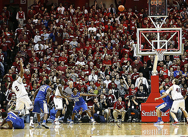 Christian Watford's 3-pointer beats the buzzer for Indiana's 73-72 upset of No. 1 Kentucky. (US Presswire)