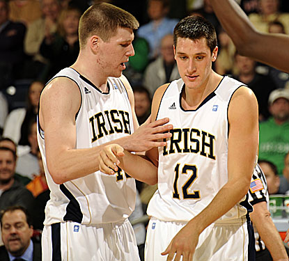 Alex Dragicevich (right) connects for four 3-pointers and scores a game and career-high 22 points in Notre Dame's win. (AP)