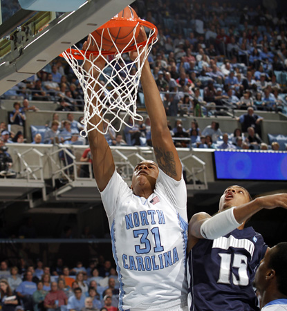 John Henson leads the No. 5 Tar Heels with 21 points en route to their 26th straight home win. (AP)