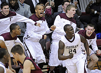 Fordham celebrates beating a ranked team for the first time since 2000 with its wins over No. 22 Harvard. (AP)