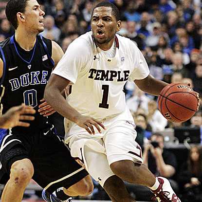 Khalif Wyatt (1) scores a game-high 22 points in Temple's upset win over No. 5 Duke. (AP)