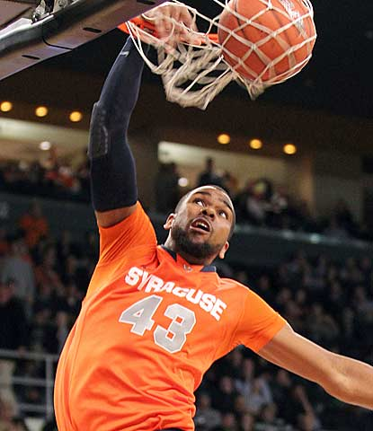James Southerland throws down a dunk in the second half for top-ranked Syracuse.  (US Presswire)