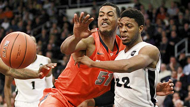 Fab Melo starts every game for Syracuse, but doesn't get a starter's minutes (22.8 per game). (AP)