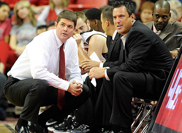 UNLV's Dave Rice (left) brings back less talent, but the Rebels are not to be counted out in the Mountain West.(USATSI)