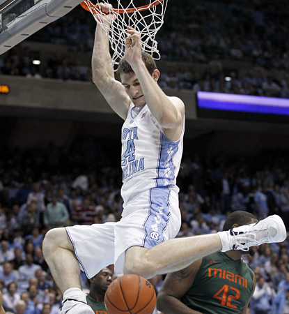 Tyler Zeller scores 16 points and adds 10 boards in helping North Carolina ease past Miami.  (AP)