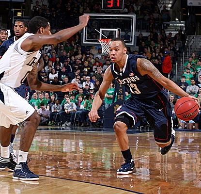 Sophomore G Shabazz Napier drives against the Irish, finishing with team-high 16 points in UConn's road win. (US Presswire)