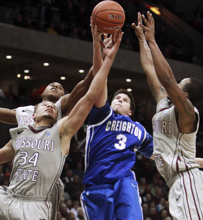 Creighton star Doug McDermott adds 15 points in a close one against Missouri State. (AP)