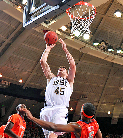 Jack Cooley scores 17 points and grabbing 10 rebounds in Notre Dame's upset of No. 1 Syracuse. (US Presswire)