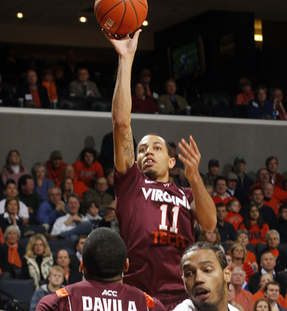 Erick Green is the only Hokie in double-figures, scoring 15 points -- including the go-ahead free throws late. (AP)