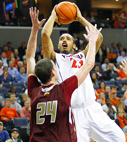 Mike Scott towers over Boston College with 18 points to lead No. 19 Virginia to victory. (US Presswire)