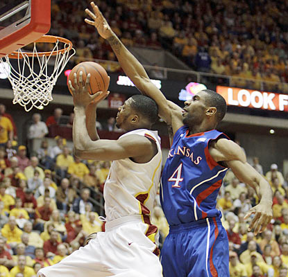 Melvin Ejim provides 15 points along with eight rebounds in a winning effort against fifth-ranked Kansas. (AP)