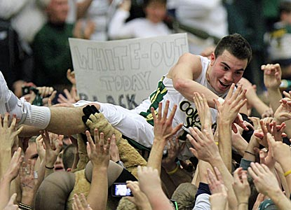 Colorado State's Kaipo Sabas goes crowd surfing after helping the Rams knock off No. 13 San Diego State.  (Getty Images)