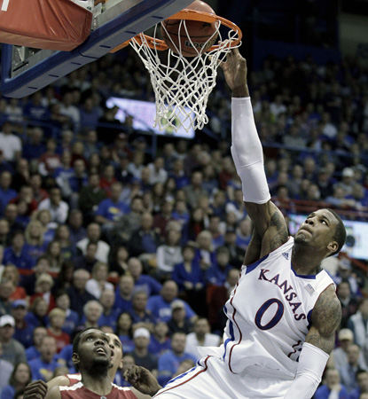 Kansas' Thomas Robinson keeps looking more and more like the player of the year, adding a 20-point, 17-board perfomance. (AP)