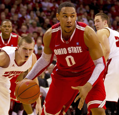 Jared Sullinger scores the Buckeyes' first nine points and ends up with 24 in a big road win for Ohio State.  (US Presswire)