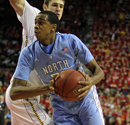 John Henson takes over in the paint, recording 17 points and 12 rebounds for the fifth-ranked Tar Heels.  (US Presswire)