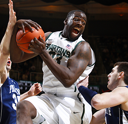 Michigan State's Draymond Green snares one of his 12 rebounds against the Nittany Lions. (AP)