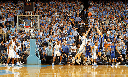 Austin Rivers (right) fires the winning 3-pointer as time expires to lift Duke to victory. (US Presswire)