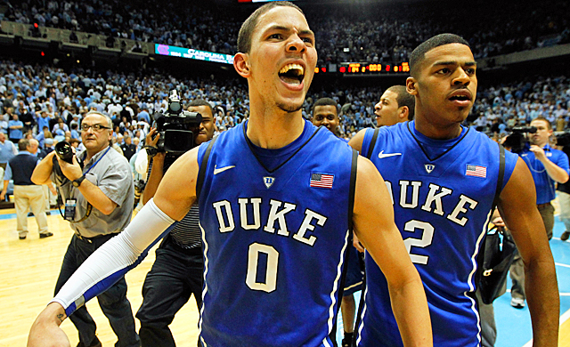 Duke's Austin Rivers reacts after silencing what was a raucous North Carolina crowd. (Getty Images)