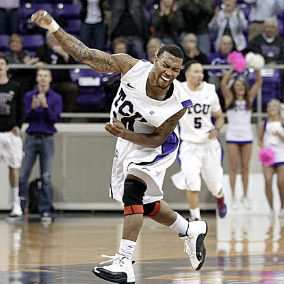 Hank Thorns scores eight of his career-high 32 points in overtime to lead TCU over UNLV.  (AP)