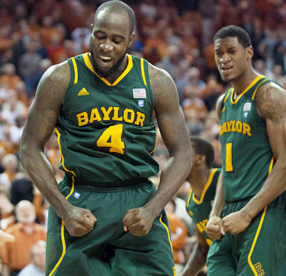 Baylor's Quincy Acy reacts during the second half after scoring two of his 22 points against Texas. (US Presswire)