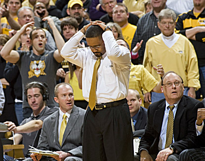Frank Haith reacts after one of his Missouri players is called for a foul during a frustrating loss to rival Kansas State. (AP)