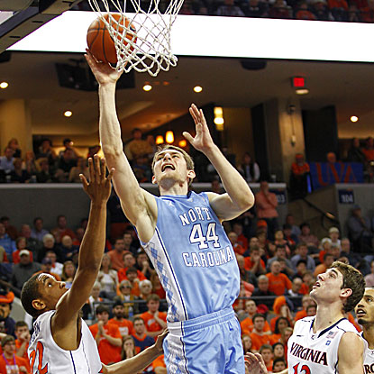 Tyler Zeller scores a game-high 20 points to help the Tar Heels win and stay tied with Duke atop the ACC.  (US Presswire)