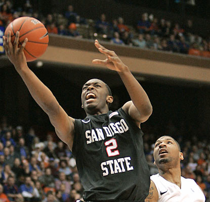 Xavier Thames (10 points) and the Aztecs drive past the Broncos for their third straight win. (AP)