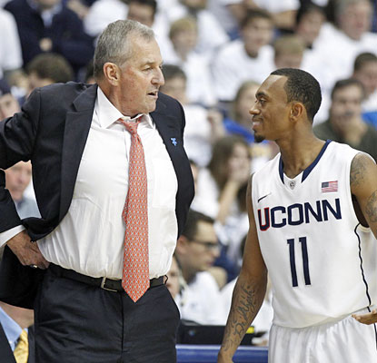 Jim Calhoun comes back to watch Ryan Boatright and the Huskies win their regular-season finale.  (US Presswire)
