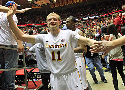 Iowa State's Scott Christopherson celebrates with fans after scoring 23 points against Baylor. (AP)