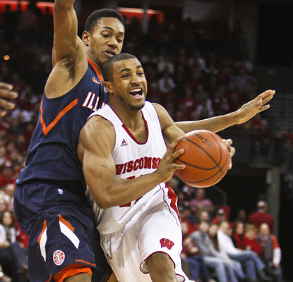 Jordan Taylor's 16 points move him into a tie with Kirk Penney for eighth on Wisconsin's all-time scoring list.  (AP)