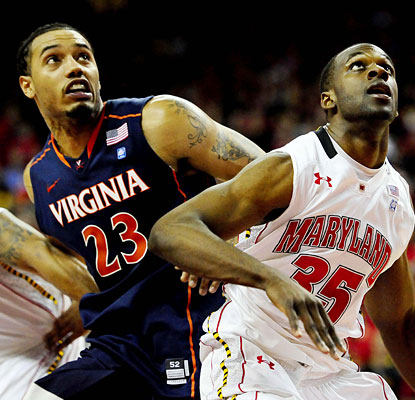 Mike Scott outmuscles James Padgett and the Terps to score a career-high 35 points and snare 11 rebounds.  (US Presswire)