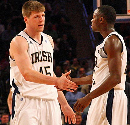 Jack Cooley and Jerian Grant combine for 21 points as the Irish advance to their fifth Big East semifinals.  (AP)