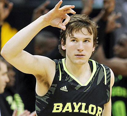 Brady Heslip enjoys one of his key 3-pointers in the second half which contribute greatly to Baylor's triumph. (Getty Images)